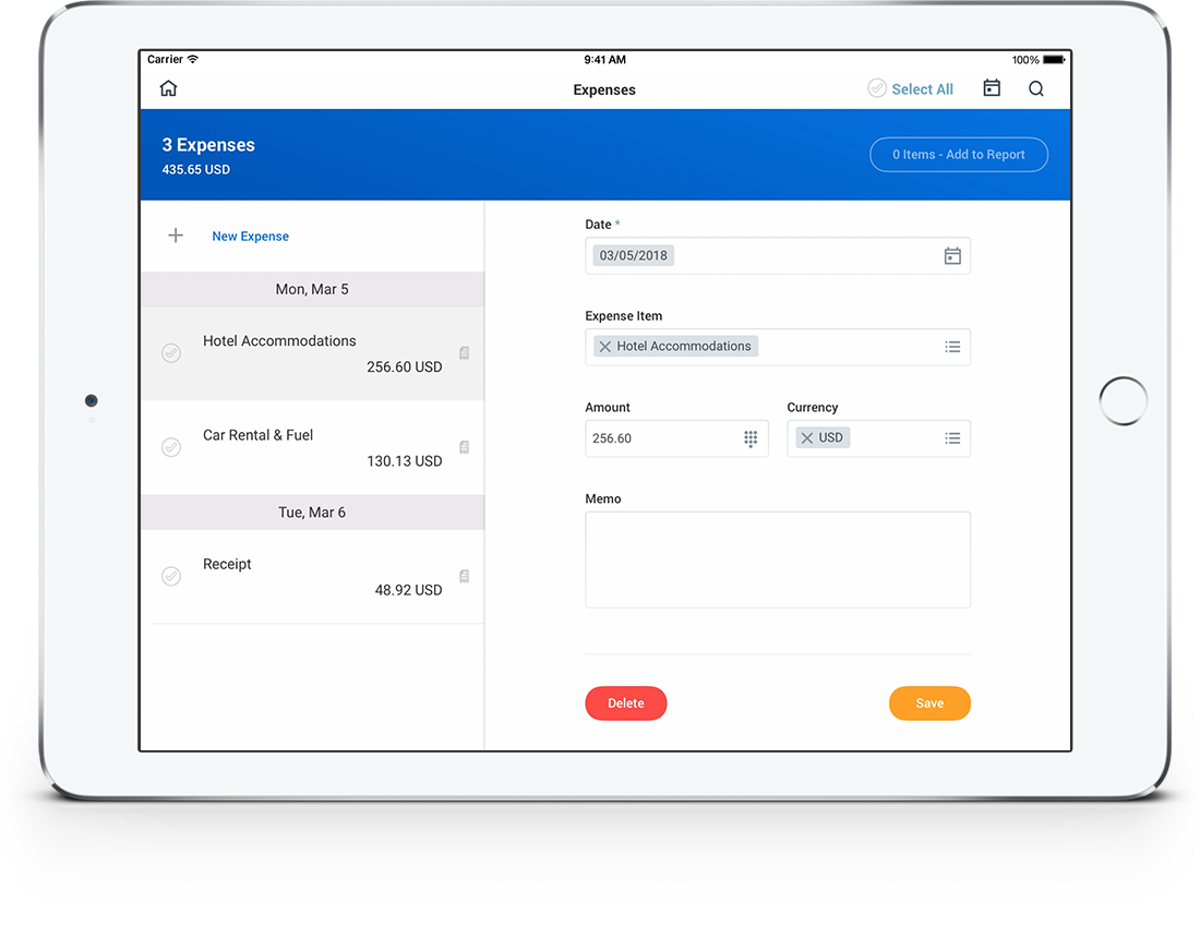 employee travel expense management software workday